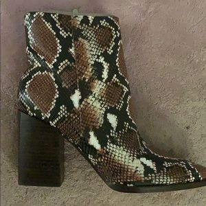 Nine West snakeskin booties